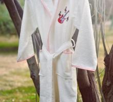 """Халат бамбук """"PUPILLA"""" детский с вышивкой YOUNG Крем (девочка)"""