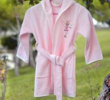 """Халат бамбук """"PUPILLA"""" детский с вышивкой KIDS Розовый"""