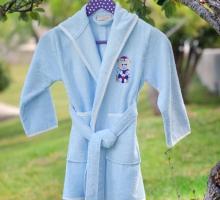 """Халат бамбук """"PUPILLA"""" детский с вышивкой KIDS Голубой"""